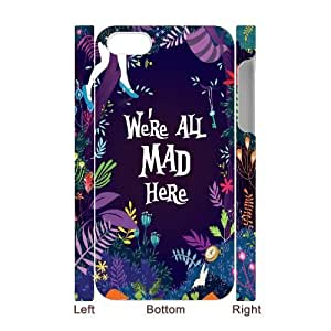 We're All Mad Here Custom 3D Case for Iphone 4,4S, 3D Personalized We're All Mad Here Case