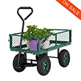 Kinbor Garden Cart Patio Wagon with Removable Sides, 650-lbs. Capacity, Green