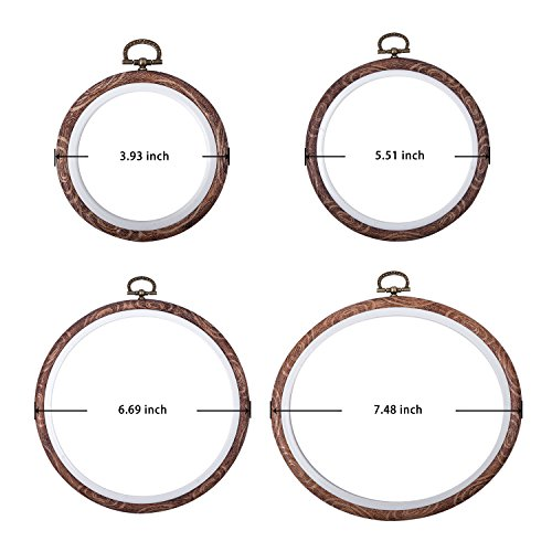4 Pcs Embroidery Hoops Set Cross Stitch Hoop Ring Imitated Wood Display Frame-Circle and Oval Hand Embroidery Kits for Art Craft Sewing (Imitated Wood)