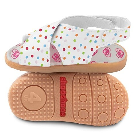 ShooShoos - Zapatitos de piel suela dura, sandalias de lunares, 20