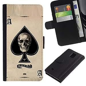 UPPERHAND Imagen de Estilo Cuero billetera Ranura Tarjeta Funda Cover Case Voltear TPU Carcasas Protectora Para Samsung Galaxy Note 4 SM-N910 - Ace Poker cráneo tarjetas de juego de Las Vegas