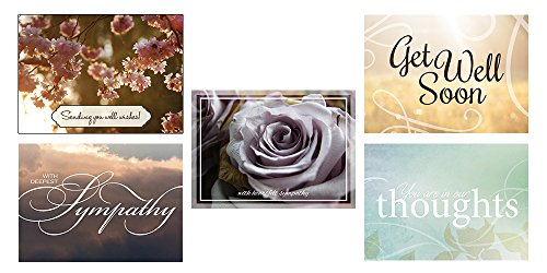 Sympathy and Get Well Greeting Card Assortment - VP1604. Business Greeting Cards Featuring Two Get Well and Three Sympathy Cards. Box Set Has 25 Greeting Cards and 26 Bright White Envelopes.