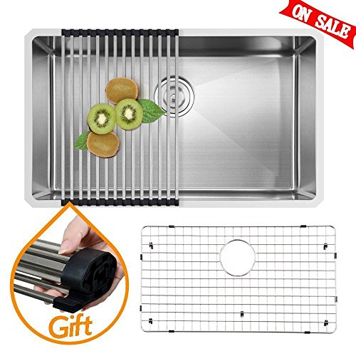 Undermount Stainless Steel Sink (VAPSINT Commercial 30 Inch 18 Gauge Handmade Drop In Undermount Single Bowl Stainless Steel Kitchen Sinks, Including Dish Drying Rack, Dish Grid & Drain Stainer)
