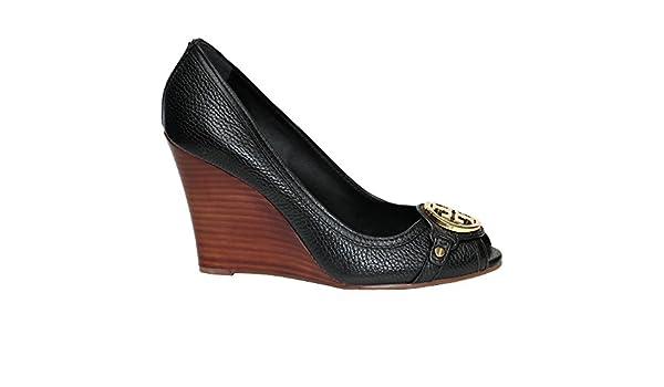 be0ea5ec434 Amazon.com  Tory Burch Leticia Wedge Shoes Leather Open Toe TB Logo Pump  Heel (7.5