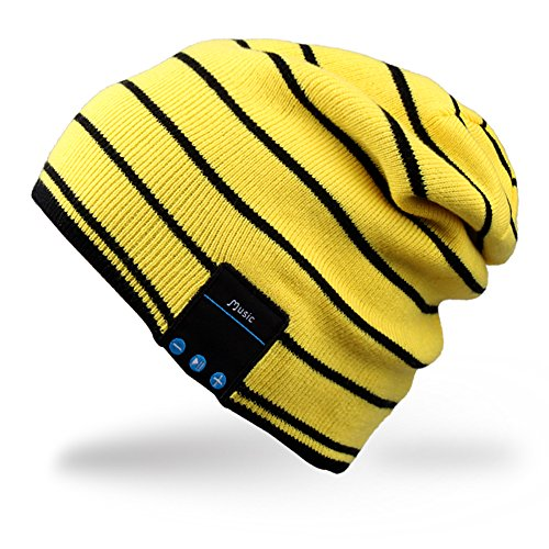 Mydeal Bluetooth Beanie Slouchy Knit Skully Beanie Cap Hat with Wireless Bluetooth Headphone Headset Earphone Music Audio Hands-free Phone Call for Winter Sports Fitness Gym Exercise Workout – Yellow