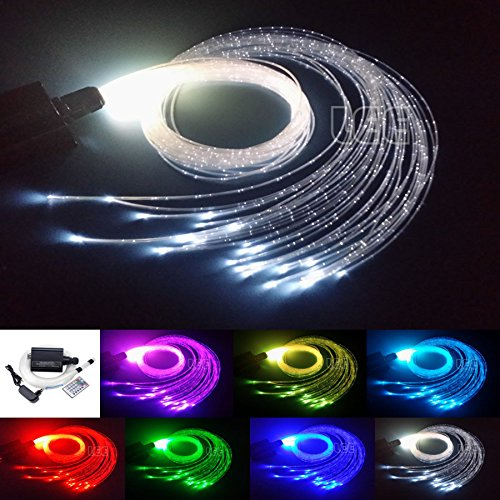 16W RGBW Fiber Optic Curtain Light Kit, Flash Point Waterfall Effect Sensory Room Lighting for Kids Children 0.03in/0.75mm 9.8ft/3m 300pcs - Fiber Optic Curtain