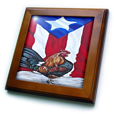 Melissa A. Torres Puerto Rican Art - Rooster with Puerto Rican Flag - 8x8 Framed Tile (ft_186792_1)
