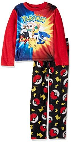 Pokemon Boys' Little Sun & Moon 2-Piece Fleece Pajama Set, Pokeball Red, 4