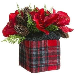 "11"" Amaryllis, Hydrangea & Pinecone Silk Flower Arrangement in Plaid Bag -Red/Green (Pack of 4) 30"