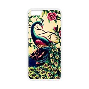 Cute Peacock Bird painting Printed Snap on Case Cover for Personalized Case for iphone 6 (Laser Technology) Case Screen iPhone -05