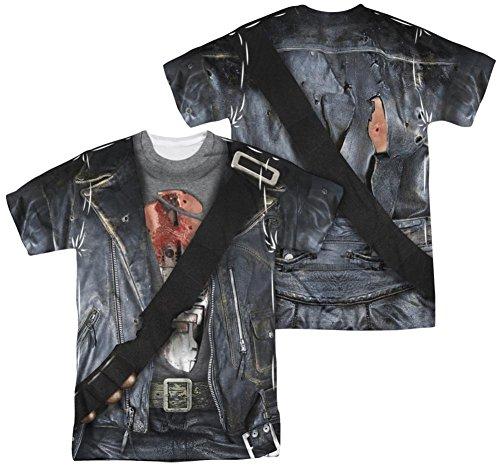 [Terminator 2 - T800 Costume (Front - Back Print) T-Shirt Size XXXL] (Cameron Terminator Costume)