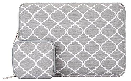 Mosiso Quatrefoil Style Canvas Fabric Laptop Sleeve Bag