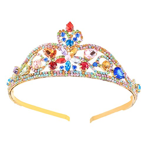 Fallen Womens Costumes (Santfe Women's Queen Princess Colorful Crystal Rhinestones Flowers Crown Headband Tiara Hair Costume Accessory (Style1))