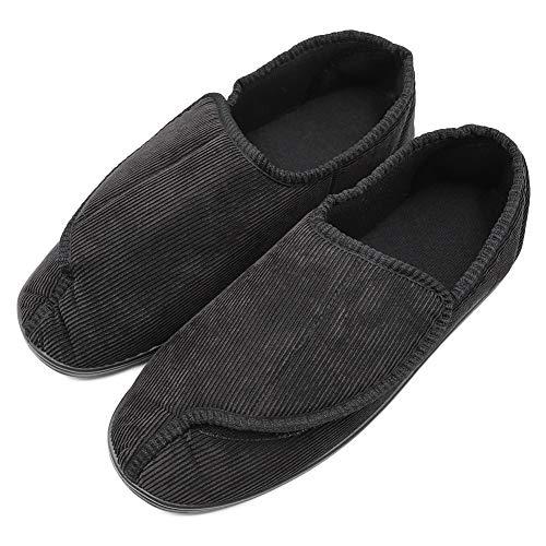(Men's Memory Foam Diabetic Slippers with Adjustable Closures,Extra Wide Width Comfy Warm Plush Fleece Arthritis Edema Swollen House Shoes Indoor/Outdoor (8 M US, Style 2-Black))
