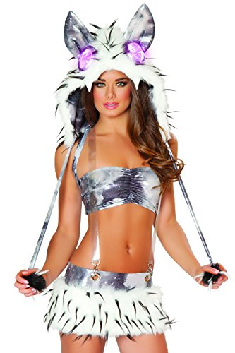 [J. Valentine Women's Faux Fur Galaxy Suspender Skirt and Tube Top Set, Black/Grey, Medium/Large] (Edc Costumes Men)