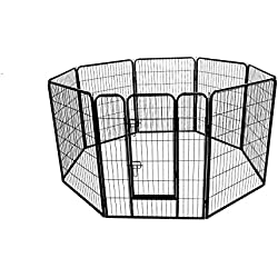 """Fur Family 48"""" inch Pet Playpen (8) Panel Kennel Exercise Dog Cat Foldable Cage -Black"""