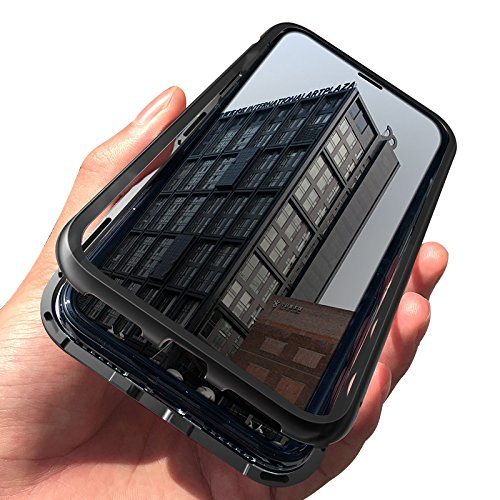 iPhone X Case, NOHON Slim Fit Ultra-Thin Case Lightweight, [Magnetic Adsorption Technology] [Metal Frame] [Clear Tempered Glass Back] [Support Wireless Charging] for iPhone X/10 (Black)]()