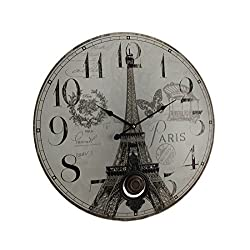Zeckos Wood Wall Clocks Paris Eiffel Tower Postcard Print Pendulum Wall Clock 23 X 23 X 1.5 Inches Beige