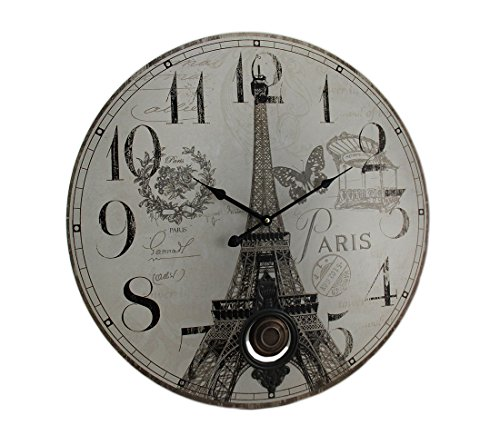 Zeckos Paris Eiffel Tower Postcard Print Pendulum Wall Clock