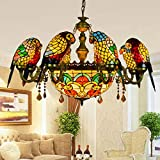 Tiffany Style Chandelier - Vintage Creative Parrot Design Ceiling lamp - Multi-arm Art Pendant Lights Fixture for Living Room Dining Room Bar Club - E27-8Arms