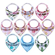 10-Pack Bandana Bibs Upsimples Baby Drool Bibs for Drooling and Teething, 100% Cotton, Super Absorbent, 10 Stylish Design Bibs for Baby Girls Infants Toddlers, Baby Shower Bib Gift Set