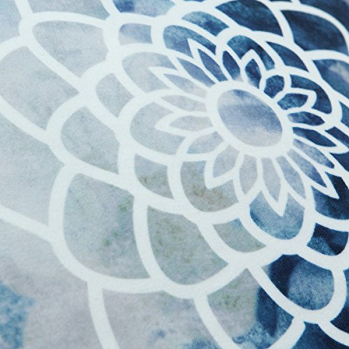 CaliTime Pack of 2 Cozy Fleece Throw Pillow Cases Covers for Couch Bed Sofa, Manual Hand Painted Print Colorful Dahlia Compass, 20 X 20 Inches, Navy