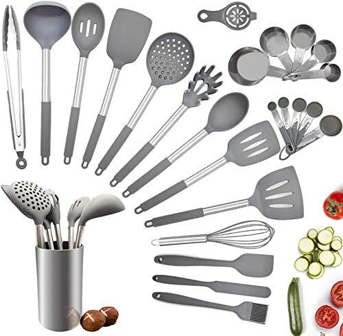 Silicone Kitchen Cooking Utensil Set,25PCS Kitchen Utensils with Holder,Heat-Resistant Non-Stick BPA-Free Stainless…