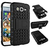 For Samsung Galaxy Grand 2 / GRAND2 / SM-G7106 / G7102 / G7106 : CASSIEY Hard Hybrid Armour Rubber Bumper Kick Stand Back Case Cover For Samsung Galaxy Grand 2 / GRAND2 / SM-G7106 / G7102 / G7106 - Black