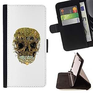 BullDog Case - FOR/Apple Iphone 4 / 4S / - / TREES FOREST SKULL NATURE DEEP WHITE /- Monedero de cuero de la PU Llevar cubierta de la caja con el ID Credit Card Slots Flip funda de cuer