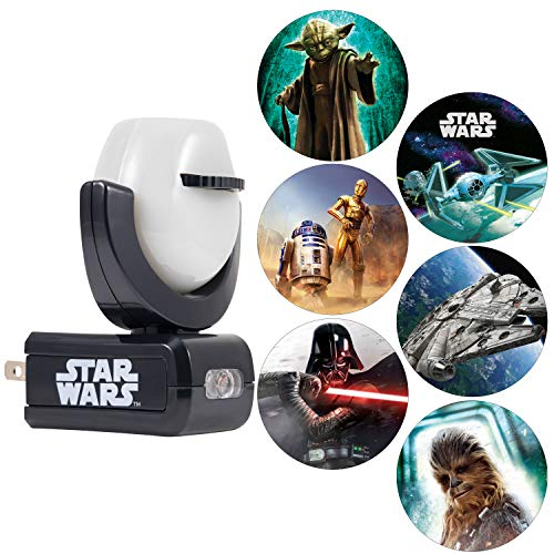 Projectables Star Wars Night 6-Image, Disney, Plug-in, for Kids, Collector's Edition, Light Sensing, Darth Vader, Ceiling, Wall, or Floor, for Bedroom, Bathroom, Nursery, 43646 ()