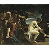 Canvas Prints Of Oil Painting ' Guercino Susannah And The Elders 1617 ' , 16 x 19 inch / 41 x 48 cm , High Quality Polyster Canvas Is For Gifts And Dining Room, Game Room And Nursery Decoration, fine