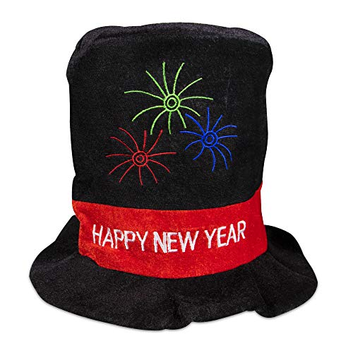Black Velour Celebration Happy New Year Party Top Hat - Happy New Year Top Hat