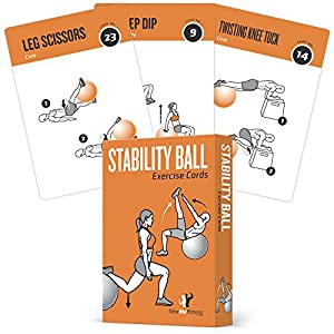 Exercise Cards Stability, Balance Ball – Includes 6, Total Body At Home Workouts : Extra Large, Waterproof, Durable with…