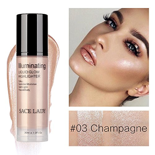 Hoshell 30ml Cosmetics High Beam Liquid Face Highlighter Foundation Makeup Shimmer Cream Facial Bronzer Contour (C)