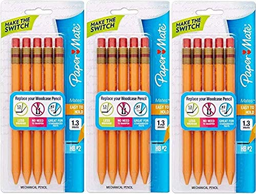 Paper Mate Mates Mechanical Pencils, Yellow Barrel; 1.3mm HB 2 Lead; Smudge Resistant Eraser; Triangular Barrel Design; 3 Blister Packs with 5 Each for a Total of 15 Mechanical Pens (1862167)