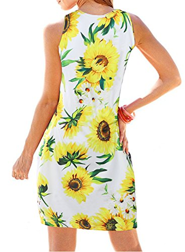 Bohemian Dress Casual White Floral Slim Summer Fit Tank A Midi Pleated Line Loose Womens HUSKARY qtWOc4q