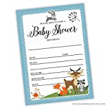 Woodland Animals Baby Shower Invitations (Set of 25) Envelopes Included, Fill in Style, Forest, Bear, Fox, Woods, Raccoon