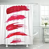 TOMPOP Shower Curtain Red Smear Paint Brush Strokes