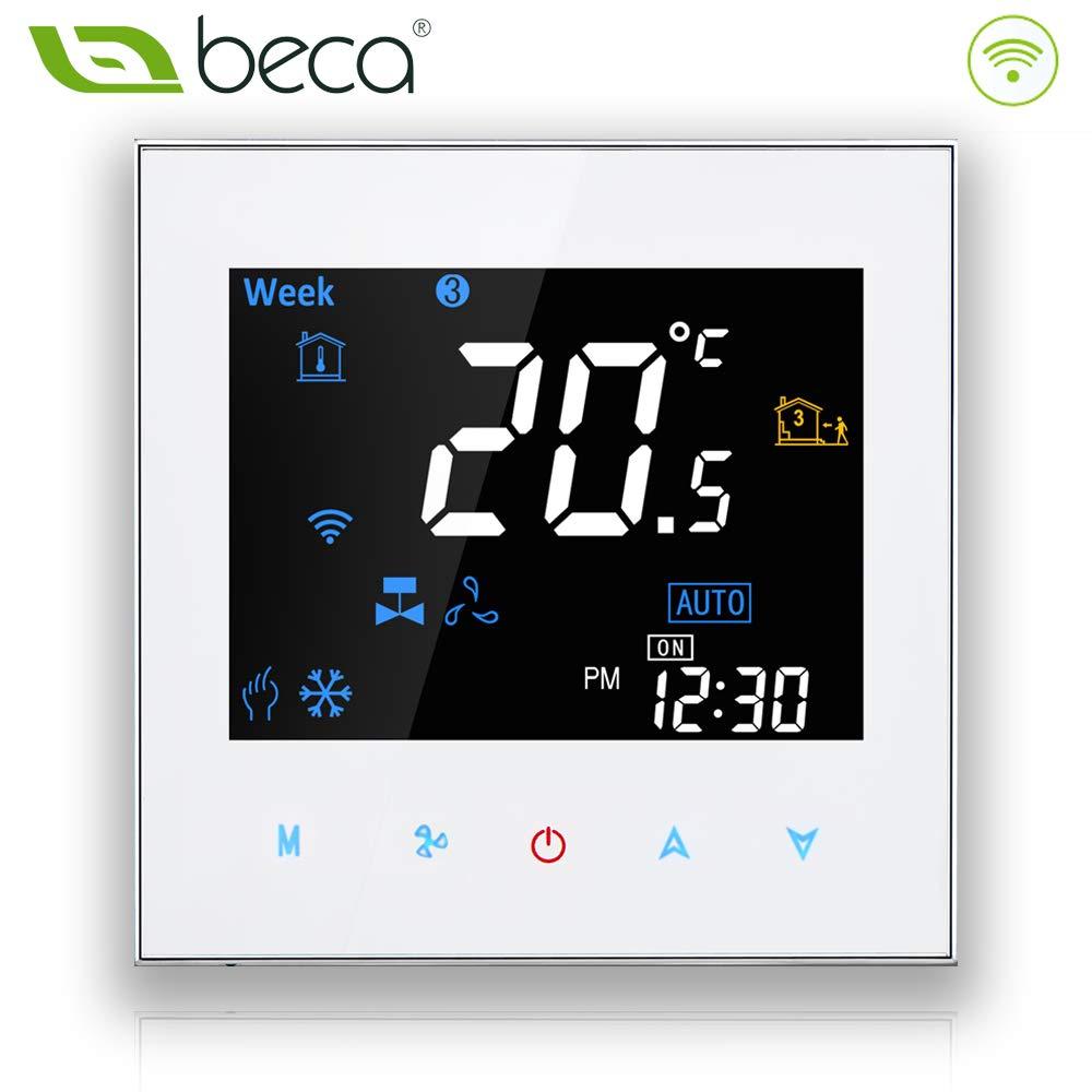 Termostato programable Beca 3000 Series 95 ~ 240VAC dos / cuatro tubos para aire acondicionado Fan Coil con conexión wifi para soporte Intelligent Voice ...