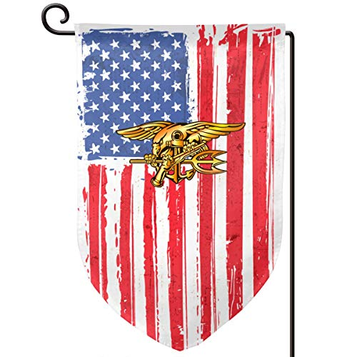(US Navy Trident Seal Graden Flag Yard Flag for Home Outdoor Decor 12x18 in Double Sided Fillet)