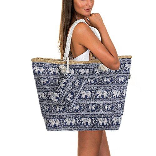 Femme Pochette ZWOOS de Tout Éléphant Ancre Sac Filles Shopping Sac à de 3 Avec Grand Plage et Vacances Pour Main Zip sac Fourre f6T6z8q