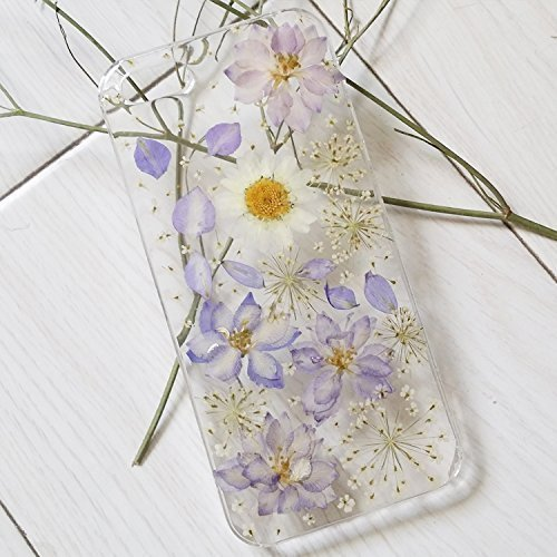 Rebbygena Floral iPhone 8 Plus, iPhone 7 Plus Case and Cover Real Pressed Flower iPhone 7 Plus Case Soft Transparent Case for iPhone 8 Plus Handmade Wildflower Cover