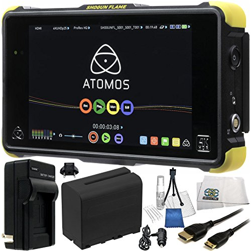 Atomos Shogun Flame 7'' 4K HDMI/12-SDI Recording Monitor 17PC Accessory Kit. Includes Replacement F970 Battery + AC/DC Rapid Home & Travel Charger + Mini HDMI Cable + MORE by SSE