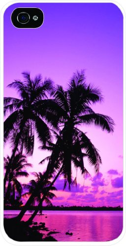 Purple Palm Tree Sunset Iphone 4 plastic white case - compatible with Iphone 4 - Beach Lakes Palm Outlets