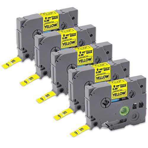 - Unismar TZe-621 TZ Label Tape 9mm Black on Yellow,P-Touch Laminated Labeling Tapes Compatible for Brother PT-H100 PT-H110 PT-D400 PT-D600 Label Maker, 0.35'' x 26.2', 5-Pack