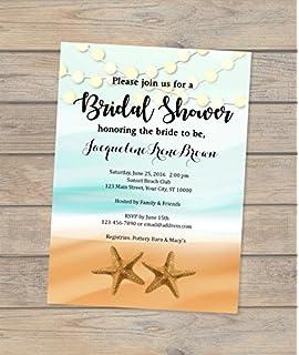 Amazon bridal shower invitations beach sea shells blue sand beach theme bridal shower invitation starfish and string of lights invitation ocean and sand filmwisefo