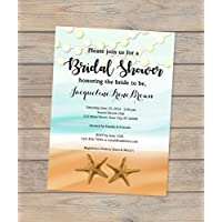 Amazon invitations stationery handmade products beach theme bridal shower invitation starfish and string of lights invitation ocean and sand filmwisefo Image collections