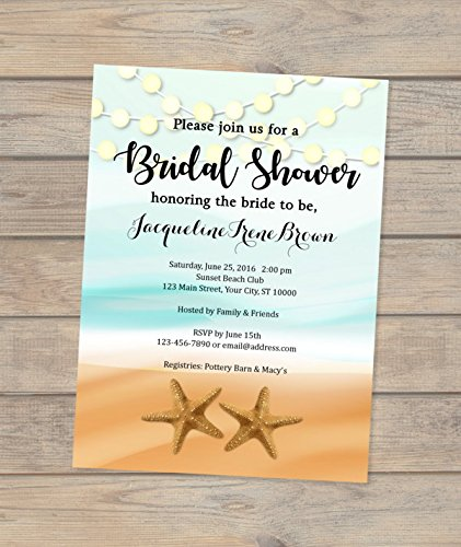 amazon com beach theme bridal shower invitation starfish and
