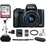 Canon EOS M50 Mirrorless Digital Camera with 15-45mm Lens -Black (USA Warranty) Bundle, Includes: 64GB SDXC Class 10 Memory Card + Full Size Tripod + Spare Battery + more