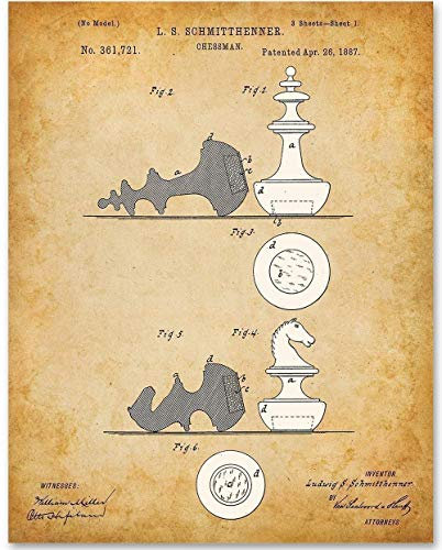 (Chessman - 11x14 Unframed Patent Print - Makes a Great Gift Under $15 for Chess Players)